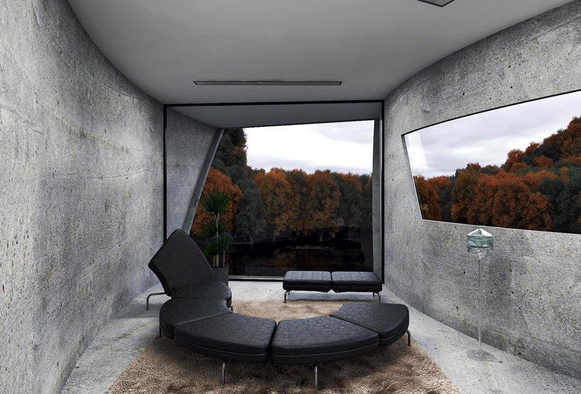 Betonowy dom na skale