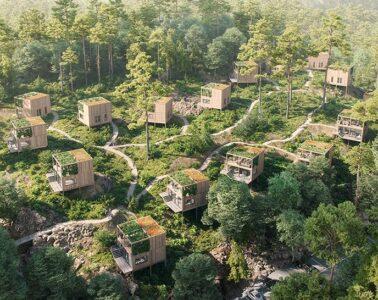 Drewniane domki w Norwegii