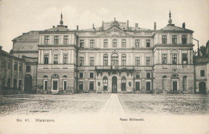 Pałac Brühla w Warszawie na rycinie z 1908 roku