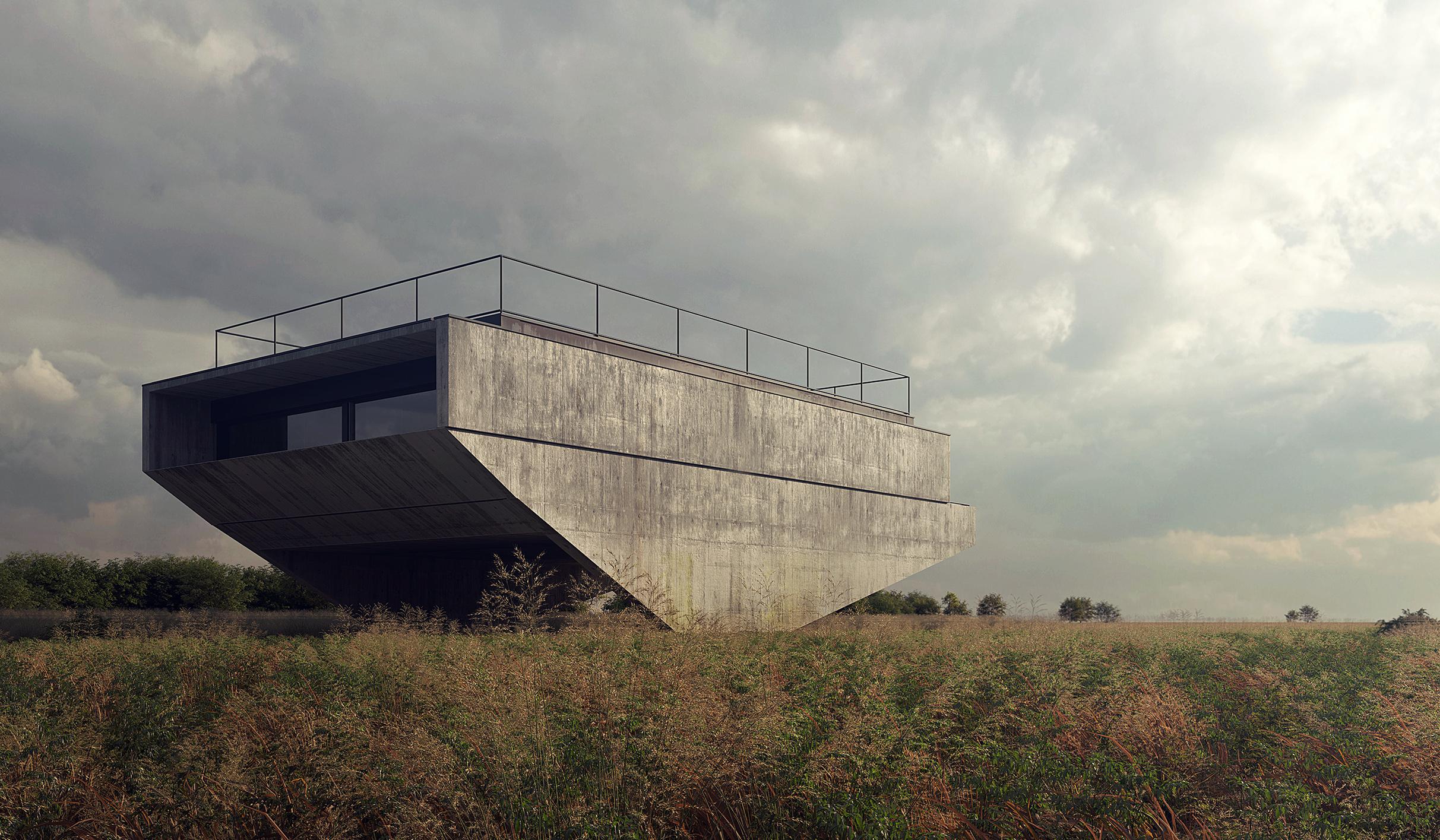 brutalistyczny dom