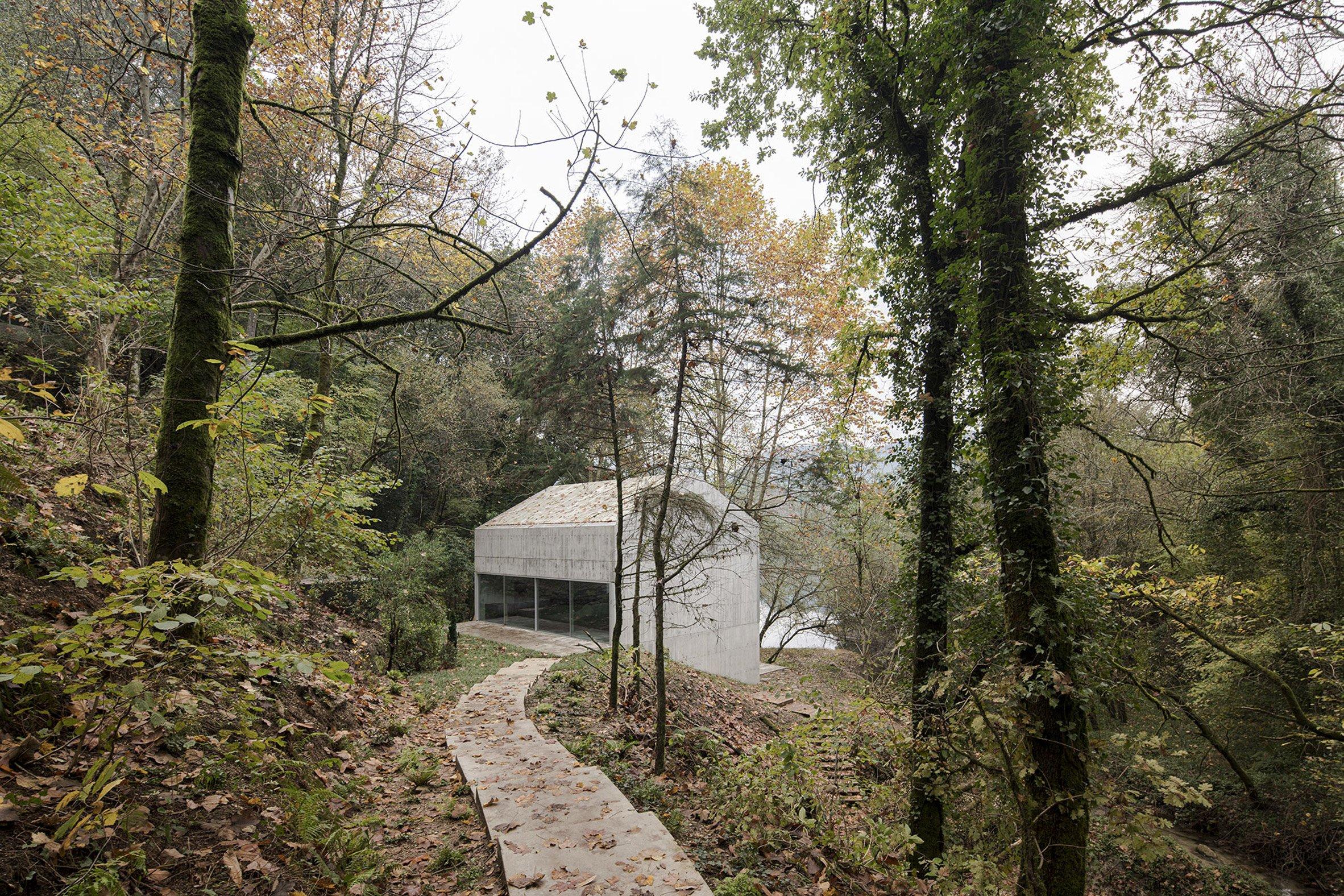 Betonowy dom w lesie