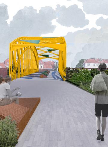 Żółty wiadukt w Gdańsku